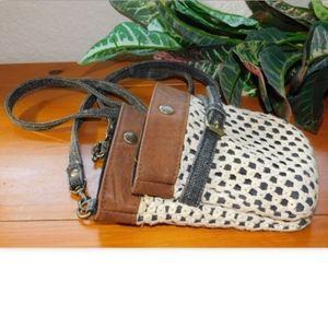 Roxy Gray Mini Crossbody Crochet Cross Over Bag